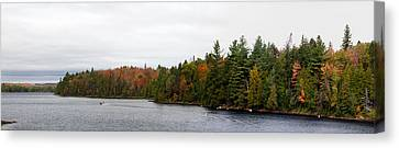 Boat In Canoe Lake, Algonquin Canvas Print by Panoramic Images