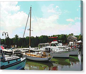 Boat - Line Of Docked Boats Canvas Print by Susan Savad