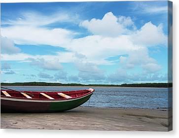 Boat On The Beach Along The Preguicas Canvas Print by Keren Su