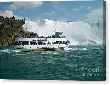 Boat Ship Taking Travellers To Niagara Falls View From Casino Casinorama  Ontario Canada Vacation Tr Canvas Print by Navin Joshi
