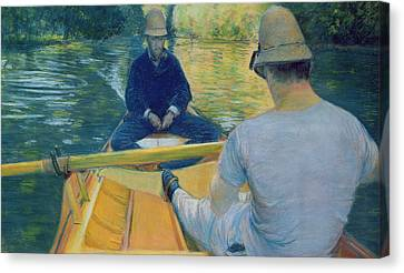 Boaters On The Yerres Canvas Print by Gustave Caillebotte