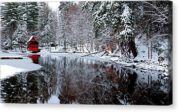Boathouse In Winter On Beaver Brook Canvas Print by David Patterson