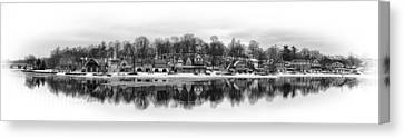 Boathouse Row In Winter Canvas Print by Gary Cain