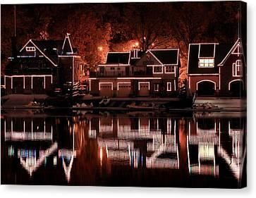Boathouse Row Reflection Canvas Print by Deborah  Crew-Johnson