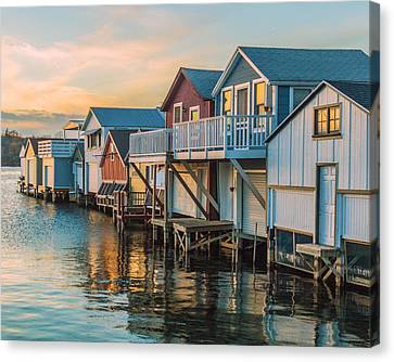 Boathouses In The Golden Hour Canvas Print by Lou Cardinale