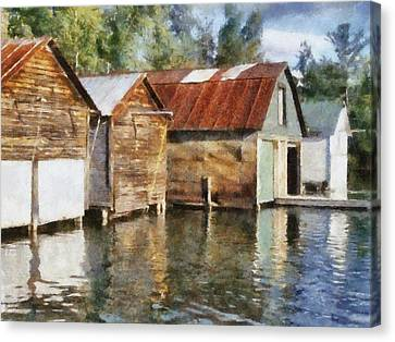 Boathouses On The Torch River Ll Canvas Print by Michelle Calkins