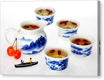 Boating Among China Tea Cups Little People On Food Canvas Print by Paul Ge