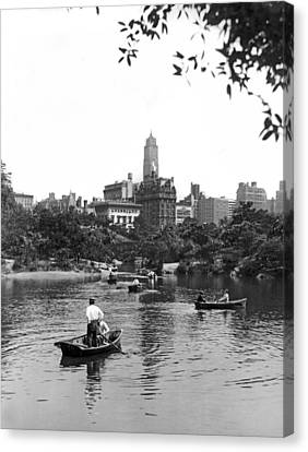 Boating In Central Park Canvas Print by Underwood Archives