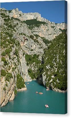 Boating In Gorges Du Verdon, Alpes De Canvas Print by Brian Jannsen