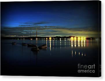 Boating - The Marina At Night Canvas Print by Paul Ward