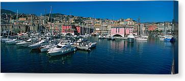 Boats At A Harbor, Porto Antico, Genoa Canvas Print by Panoramic Images