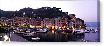 Boats At A Harbor, Portofino, Genoa Canvas Print by Panoramic Images