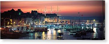 Boats At A Harbor, Rosmeur Harbour Canvas Print by Panoramic Images