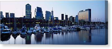 Boats Docked At A Harbor, Puerto Canvas Print by Panoramic Images