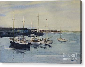 Boats In A Harbour Canvas Print by Martin Howard