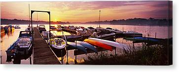 Boats In A Lake At Sunset, Lake Canvas Print by Panoramic Images