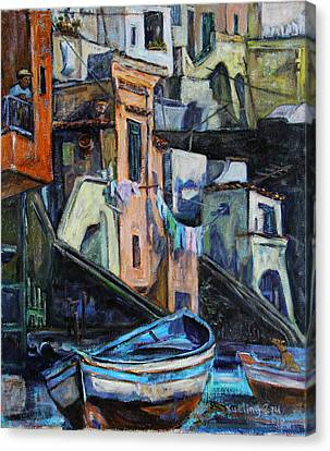 Boats In Front Of The Buildings I  Canvas Print by Xueling Zou