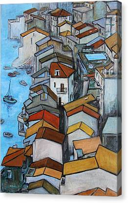 Boats In Front Of The Buildings Iv Canvas Print by Xueling Zou