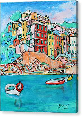 Boats In Front Of The Buildings X Canvas Print by Xueling Zou