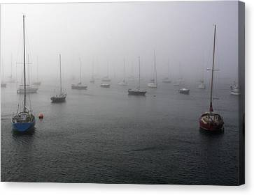 Boats In The Mist Canvas Print by Aidan Moran