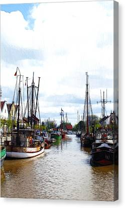 Boats In The Old Harbor Canvas Print by Steve K