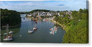 Boats In The Sea, Le Bono, Gulf Of Canvas Print by Panoramic Images