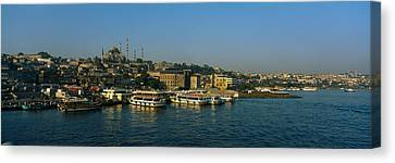 Boats Moored At A Harbor, Istanbul Canvas Print by Panoramic Images