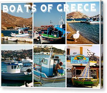 Boats Of Greece Canvas Print by Therese Alcorn