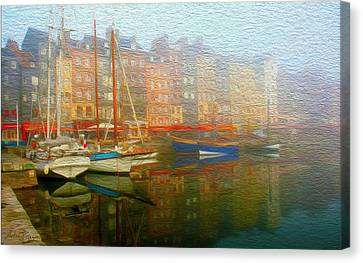 Boats On Fog. Canvas Print by Carlos Villegas