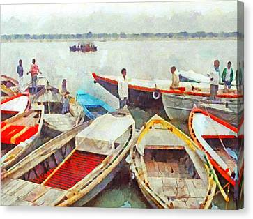Boats On The Ganges River Canvas Print by Digital Photographic Arts