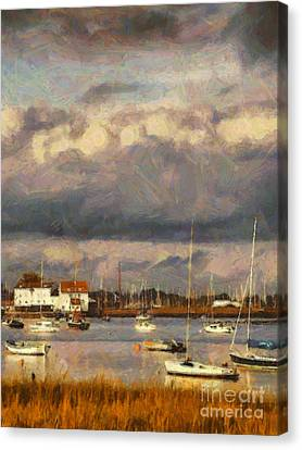 Boats On The River Canvas Print by Pixel Chimp