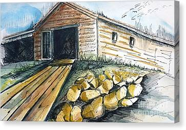 Boatshed - Pacific Creek - Original Sold Canvas Print by Therese Alcorn