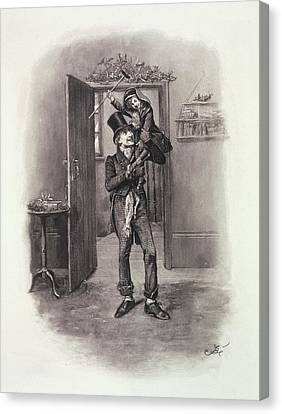 Bob Cratchit And Tiny Tim, From Charles Canvas Print by Frederick Barnard