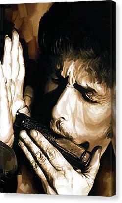 Bob Dylan Artwork 2 Canvas Print by Sheraz A