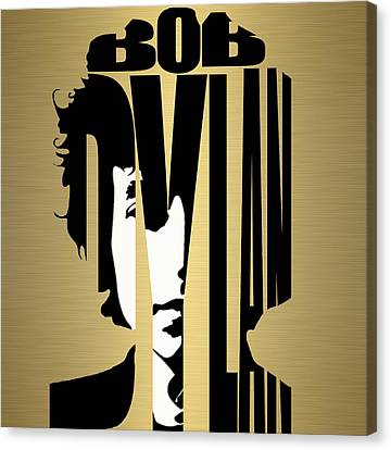 Bob Dylan Gold Canvas Print by Marvin Blaine
