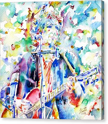 Bob Dylan Playing The Guitar - Watercolor Portrait.1 Canvas Print by Fabrizio Cassetta
