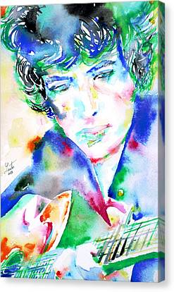 Bob Dylan Playing The Guitar - Watercolor Portrait.2 Canvas Print by Fabrizio Cassetta