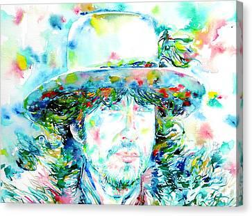 Bob Dylan - Watercolor Portrait.2 Canvas Print by Fabrizio Cassetta