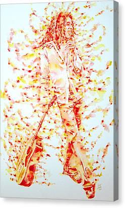 Bob Marley And Guitar - Watercolor Portrait Canvas Print by Fabrizio Cassetta