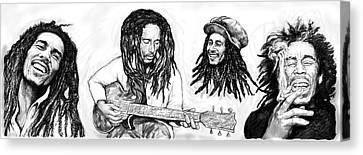 Bob Marley Art Drawing Sketch Poster Canvas Print by Kim Wang