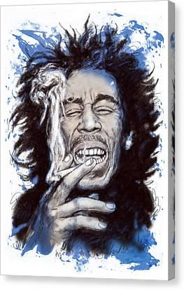 Bob Marley Colour Drawing Art Poster Canvas Print by Kim Wang