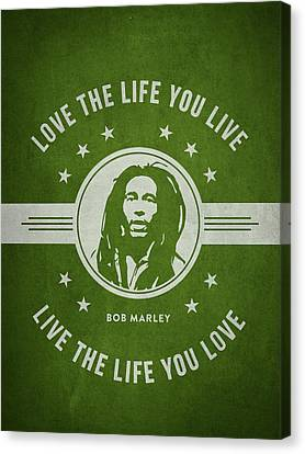 Bob Marley - Green Canvas Print by Aged Pixel