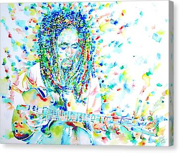 Bob Marley Playing The Guitar - Watercolor Portarit Canvas Print by Fabrizio Cassetta