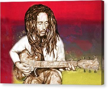 Bob Marley - Stylised Drawing Art Poster Canvas Print by Kim Wang