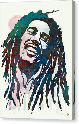 Bob Marley Stylised Etching Pop Art Poster Canvas Print by Kim Wang