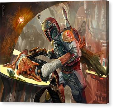 Star Canvas Print featuring the digital art Boba Fett - Star Wars The Card Game by Ryan Barger