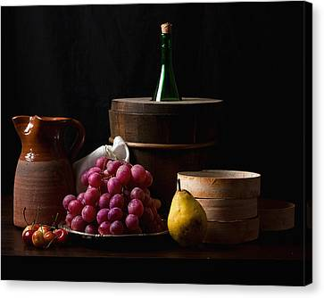 Bodegon With Grapes-pear And Boxes Canvas Print by Levin Rodriguez