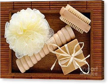 Body Care Accessories In Wood Tray Canvas Print by Olivier Le Queinec