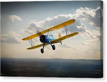 Boeing Stearman Trainer In Flight  Canvas Print by Gary Eason