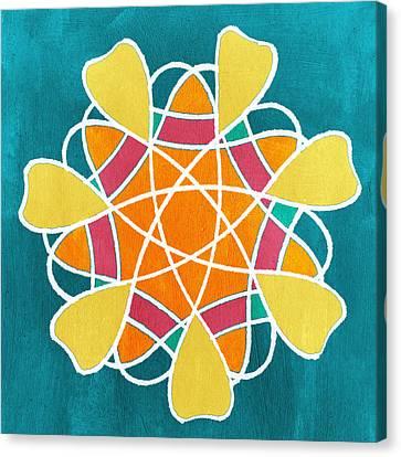 Boho Floral Mandala Canvas Print by Linda Woods